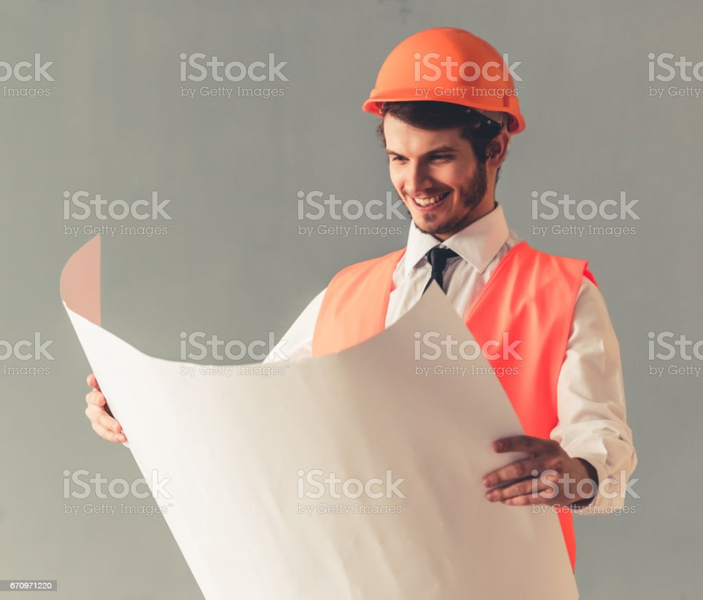 Handsome young architect stock photo