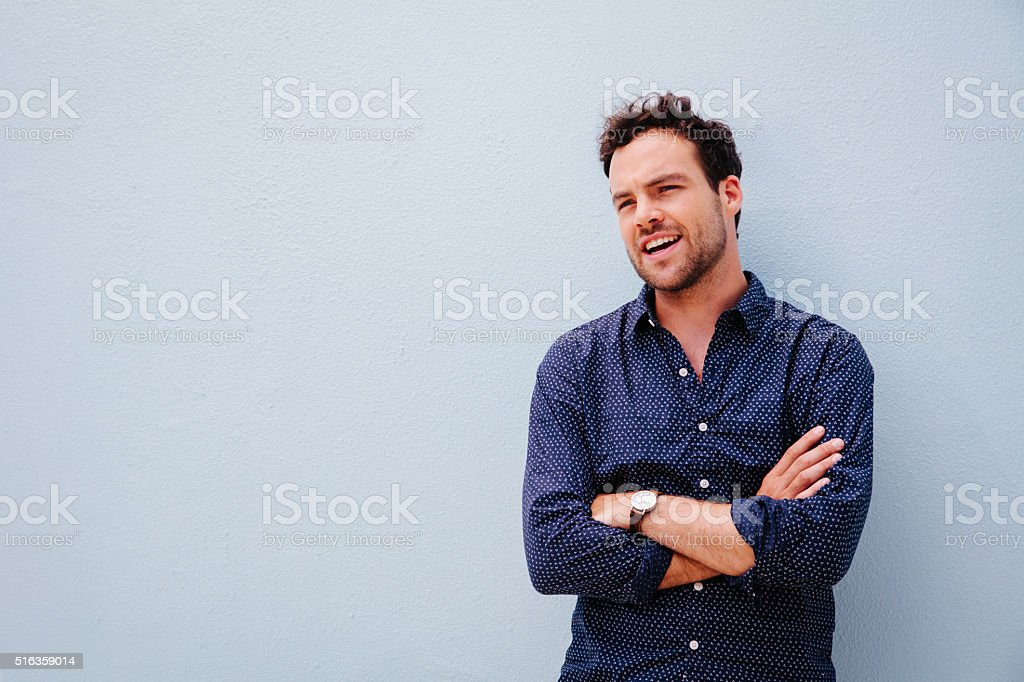 Handsome young bearded stylish man stock photo
