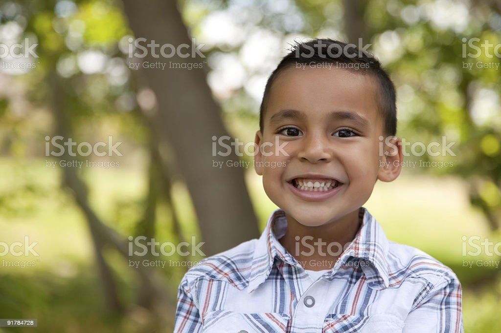 Handsome Young Boy in the Park stock photo