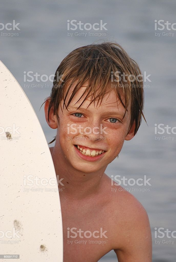 Handsome Young Boy Smiling at the Beach royalty-free stock photo