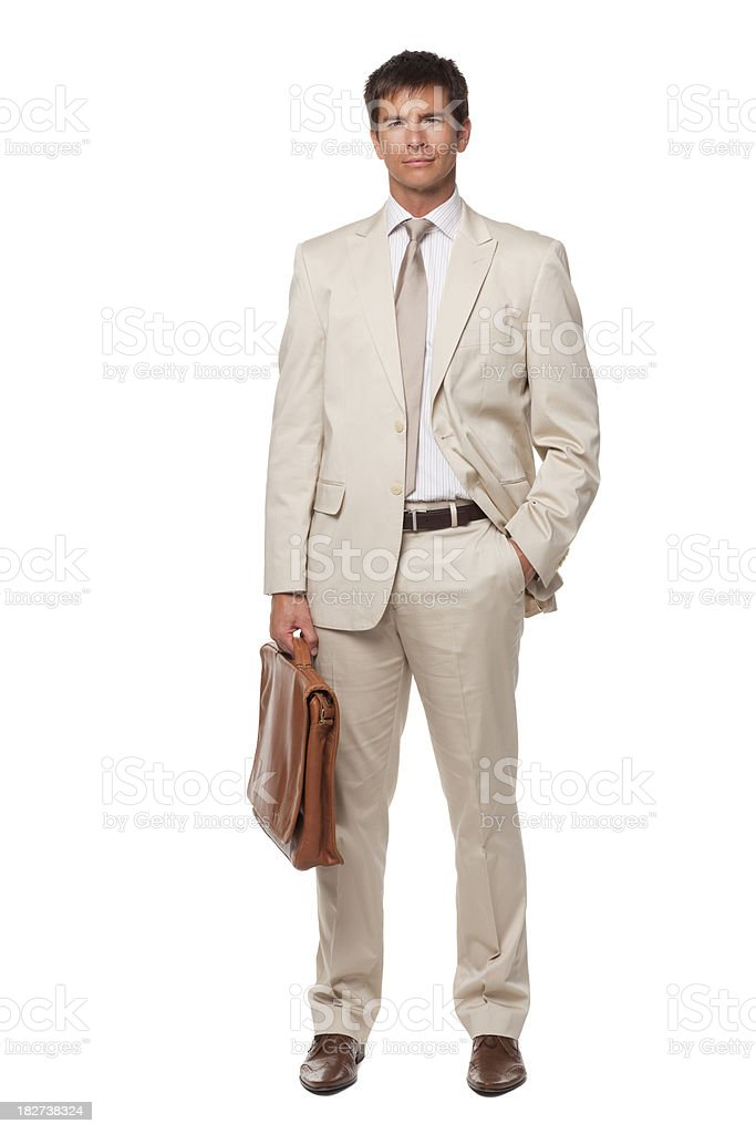 Handsome Young Businessman Holding Briefcase. Isolated royalty-free stock photo