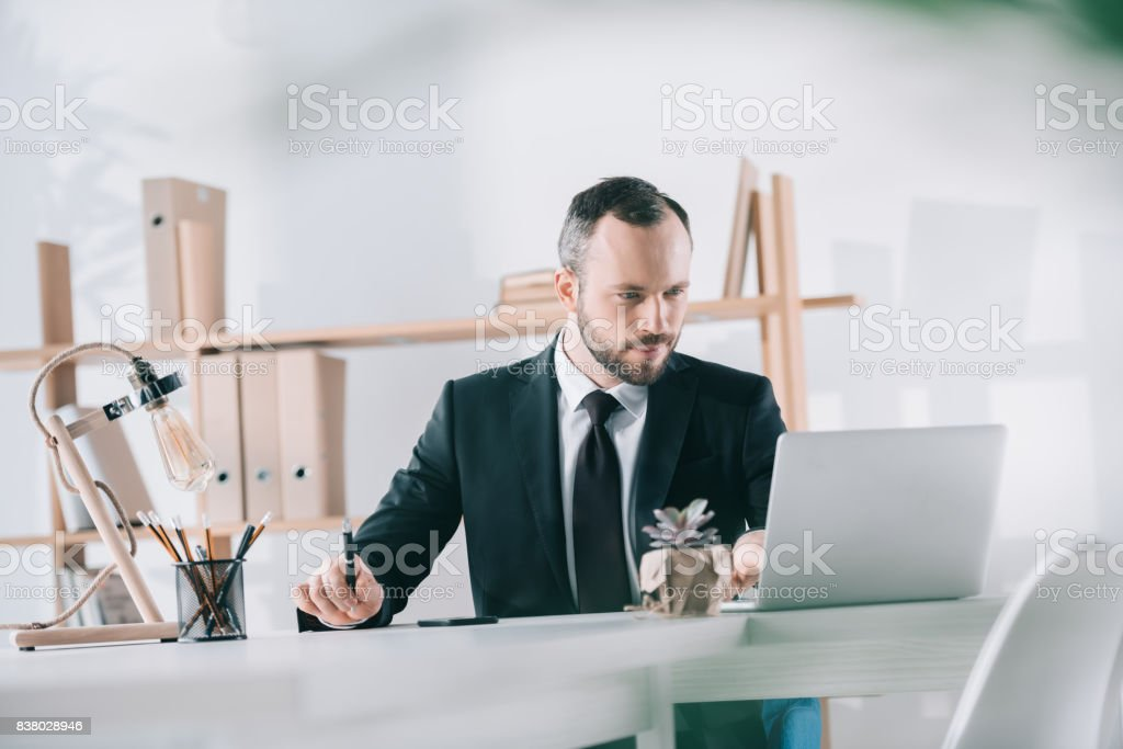 handsome young businessman looking at laptop screen stock photo