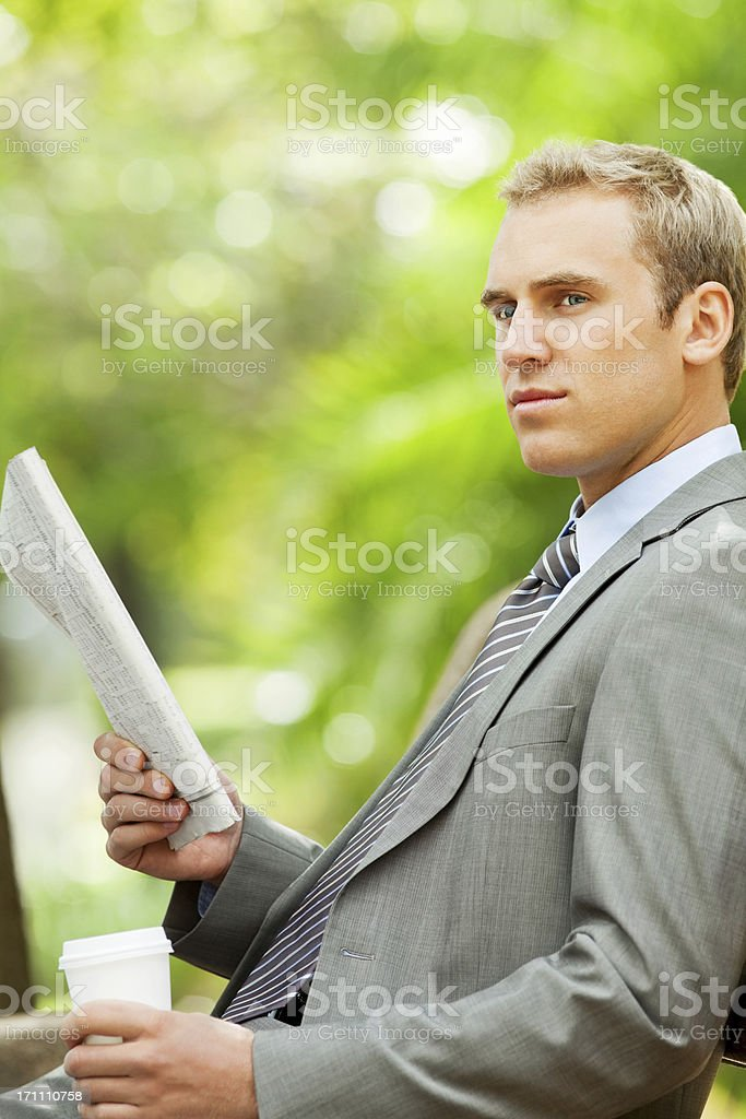 Handsome Young Businessman Taking  a Break royalty-free stock photo