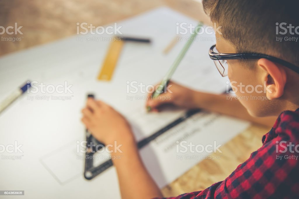 Handsome young carpenter stock photo