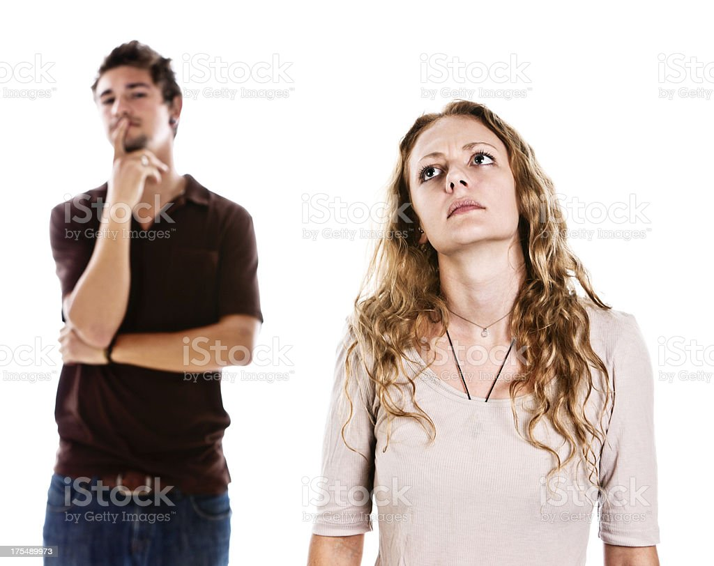 Handsome young couple look worried about something stock photo
