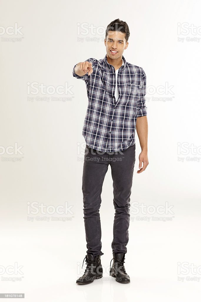 Handsome young guy pointing at camera royalty-free stock photo