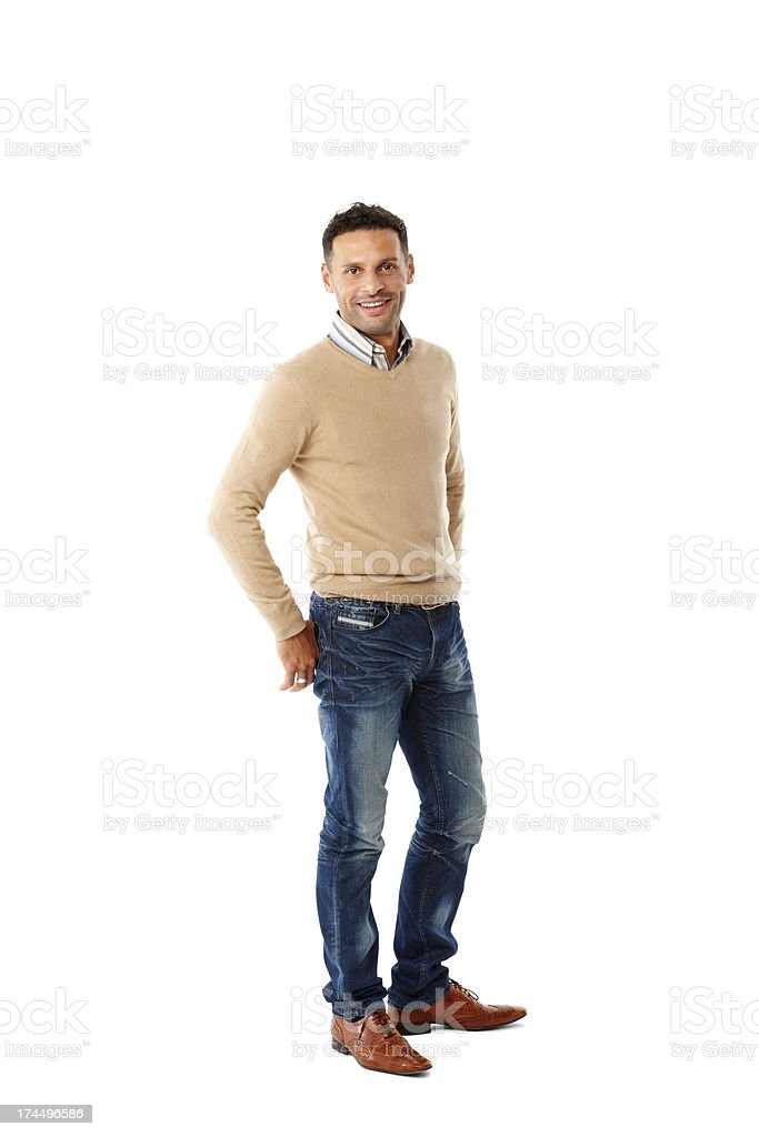 Handsome young guy standing casually stock photo