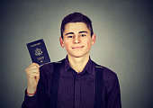 handsome young happy man with USA passport
