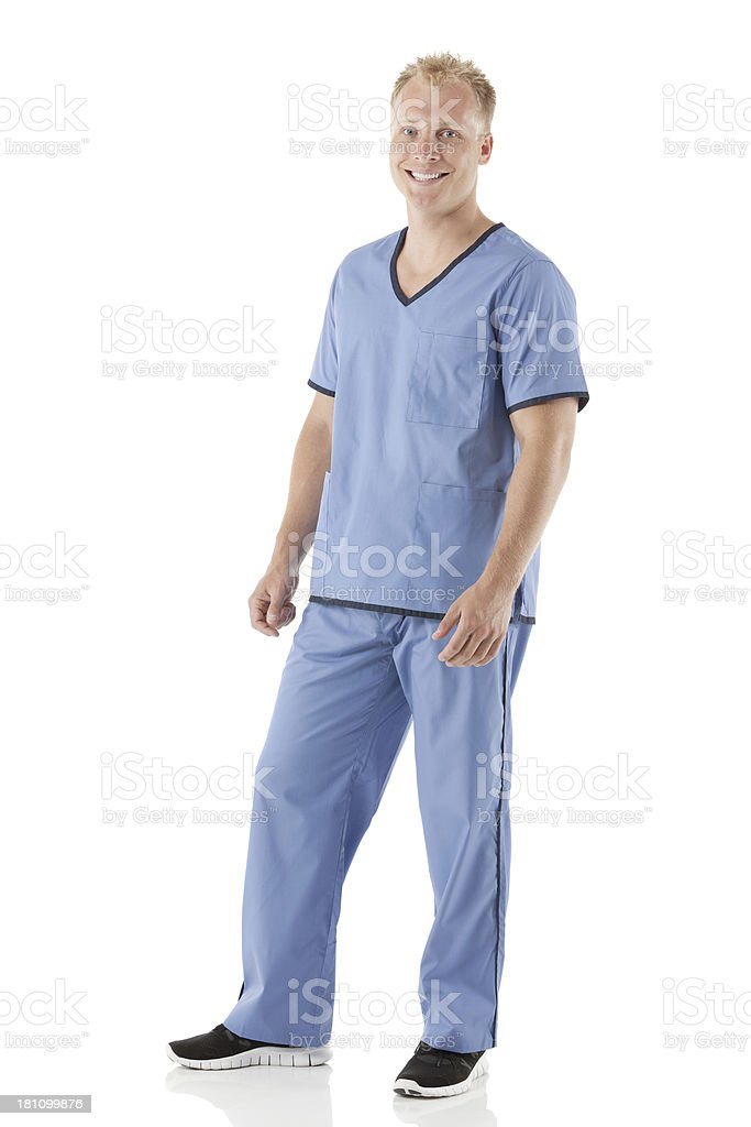 Handsome young make nurse posing against white royalty-free stock photo