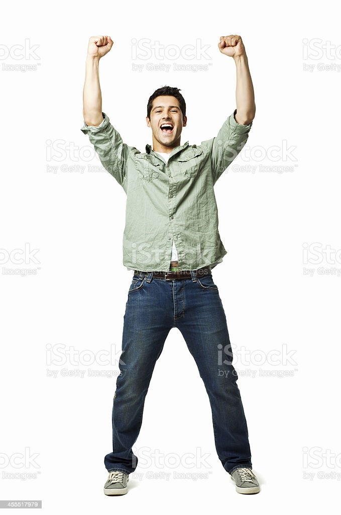 Handsome Young Man Cheering - Isolated stock photo
