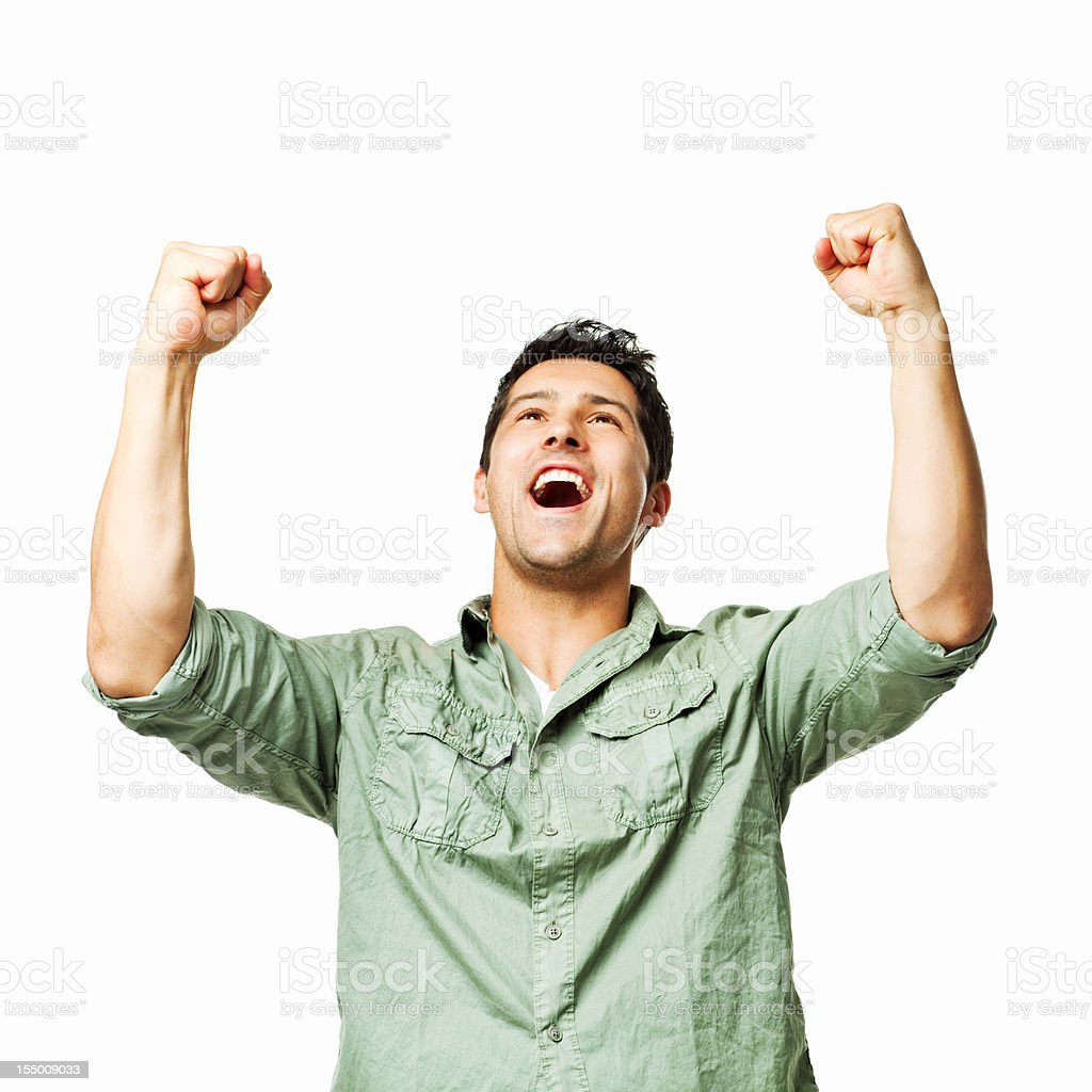 Handsome Young Man Cheering With Raised Fists - Isolated stock photo