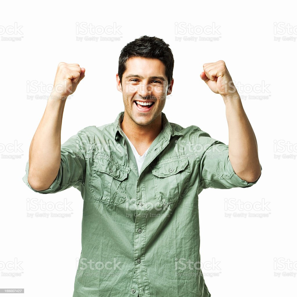 Handsome Young Man Excitedly Cheering - Isolated royalty-free stock photo
