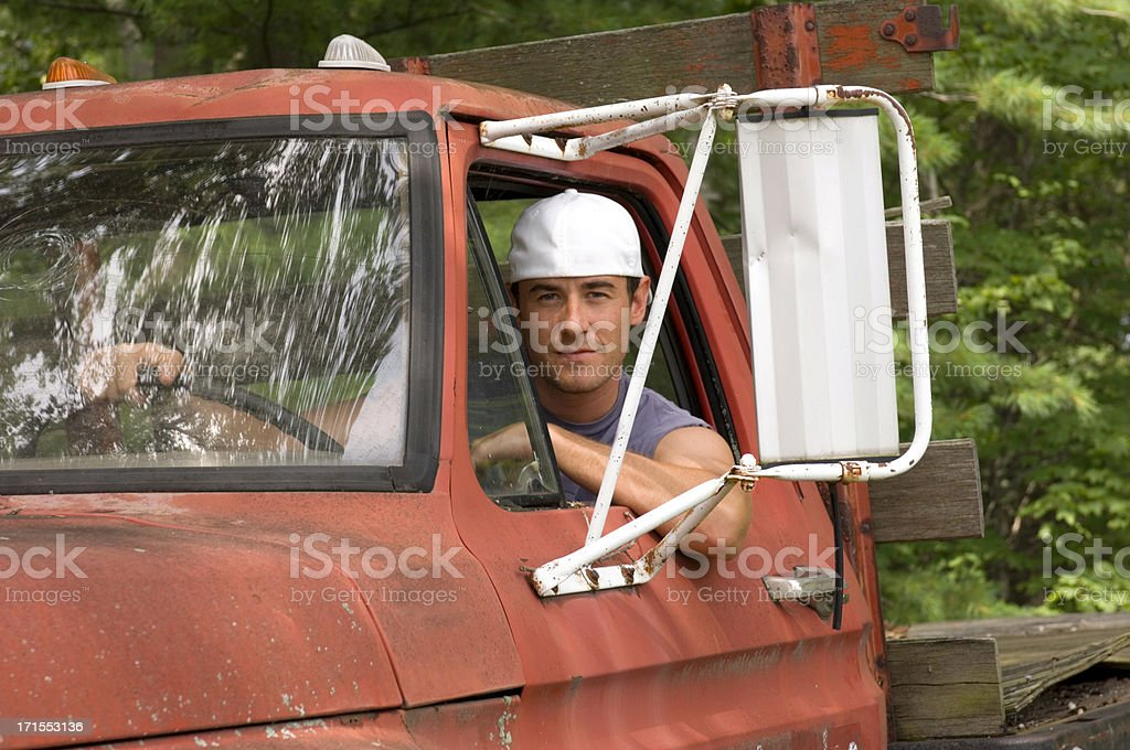 Handsome Young Man in Truck stock photo