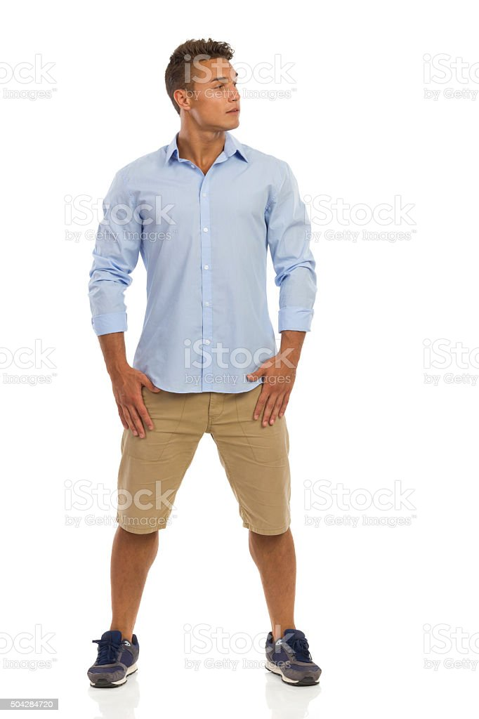 Handsome Young Man Looking Away Full Lenght stock photo