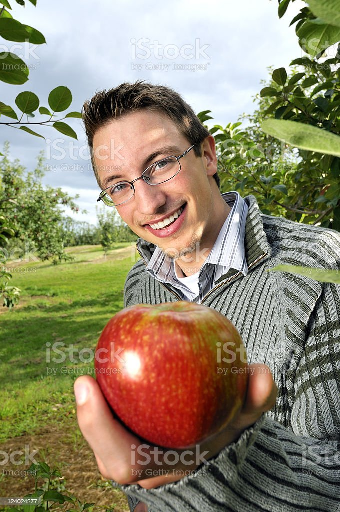 Handsome Young Man Offers Apple (Focus on Model) royalty-free stock photo