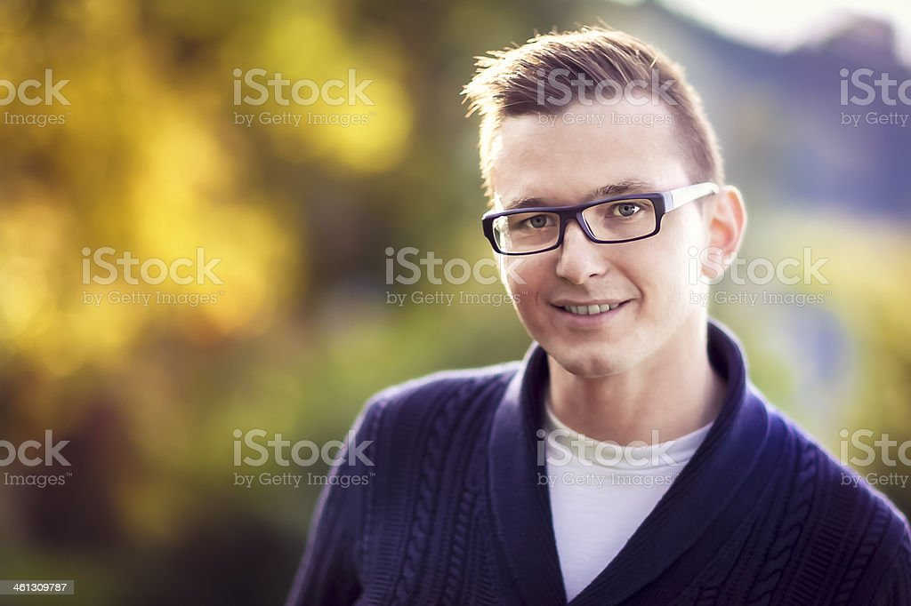 A Handsome young man portrait outside royalty-free stock photo