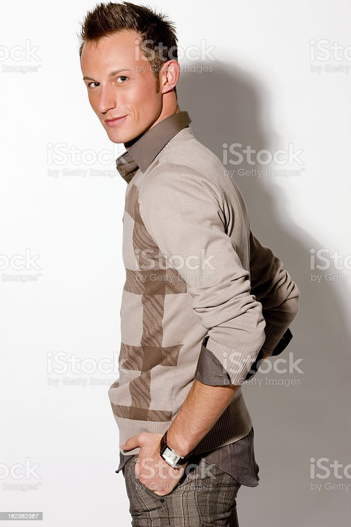 Handsome Young Man posing on white background royalty-free stock photo