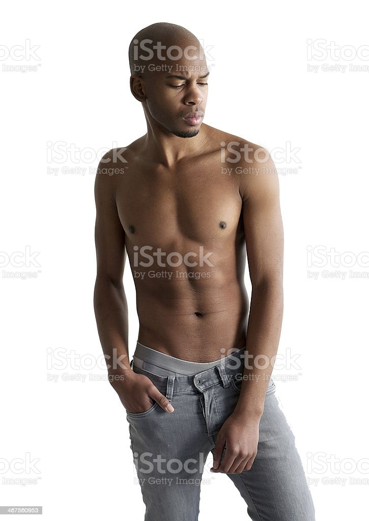 Handsome young man posing with no shirt royalty-free stock photo
