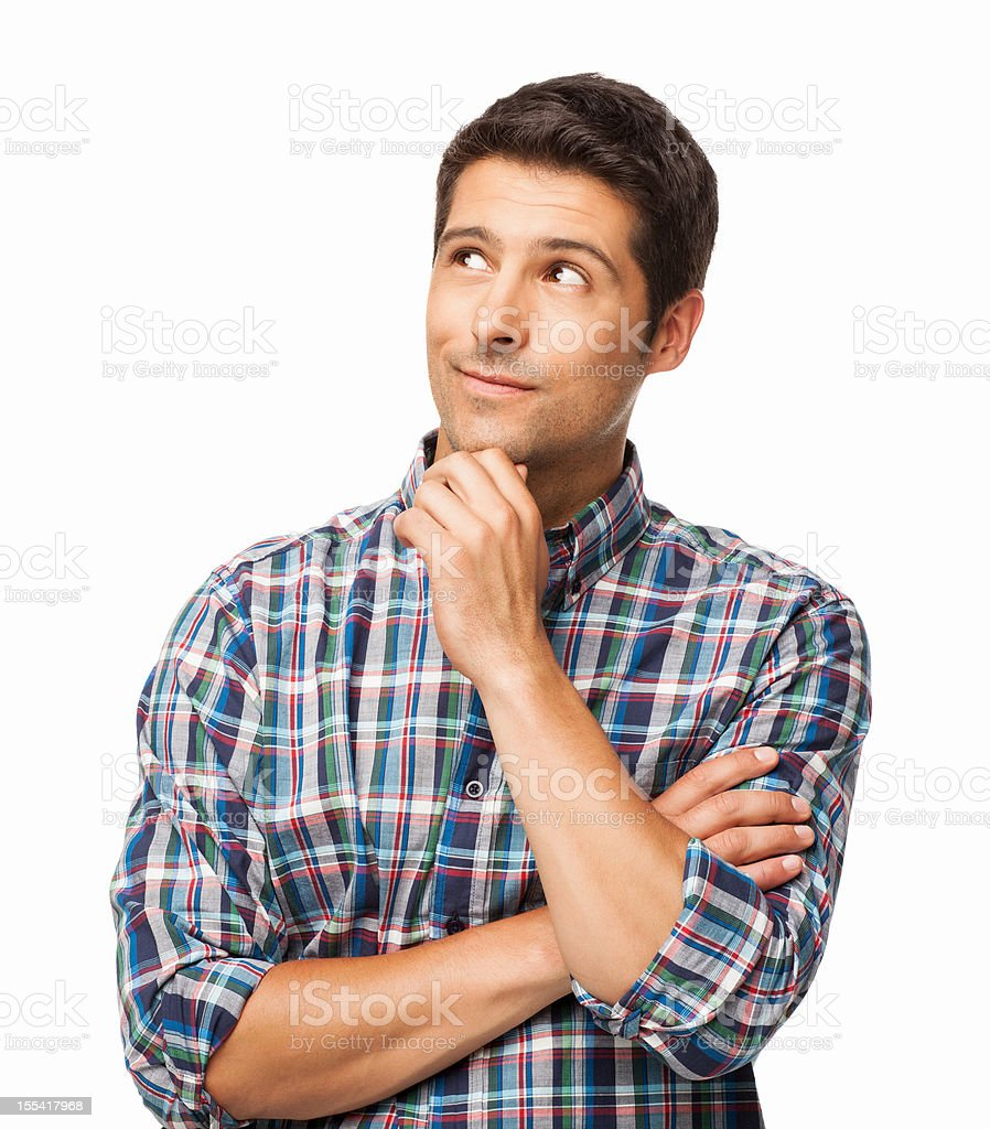 Handsome Young Man Thinking - Isolated stock photo