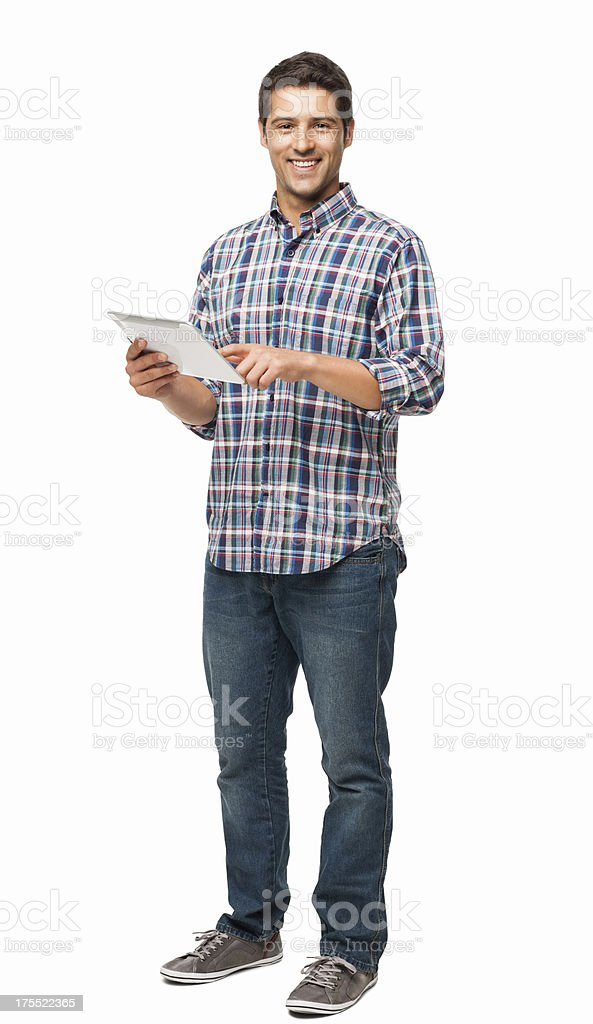 Handsome Young Man Using Digital Tablet - Isolated stock photo