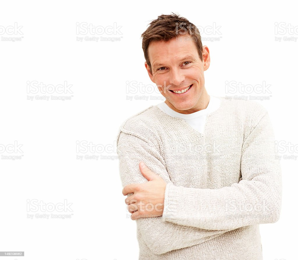 Handsome young man with hands folded royalty-free stock photo