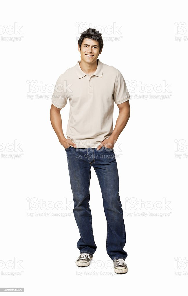 Handsome Young Man With Hands in His Pockets - Isolated stock photo