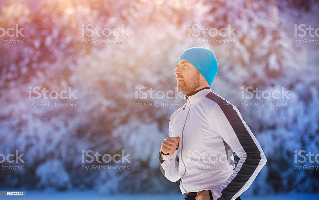 Handsome young runner stock photo