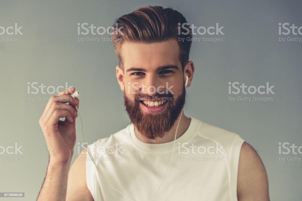 Handsome young sportsman stock photo