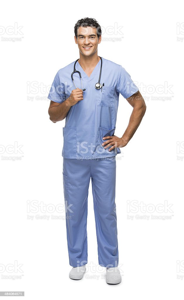 Handsome young surgeon holding his stethoscope stock photo