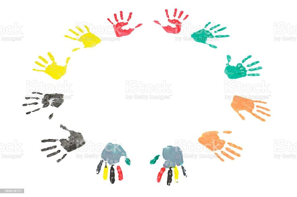 Handsprints Circle royalty-free stock photo