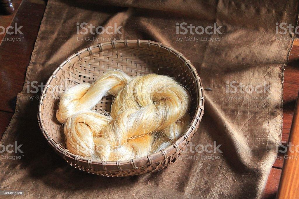 Handspun raw silk yarn, Angkor, Cambodia stock photo