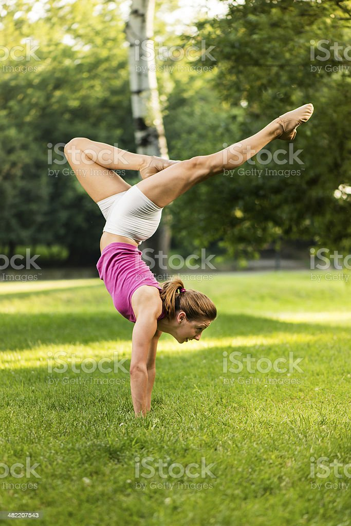 Handstand Exercise royalty-free stock photo