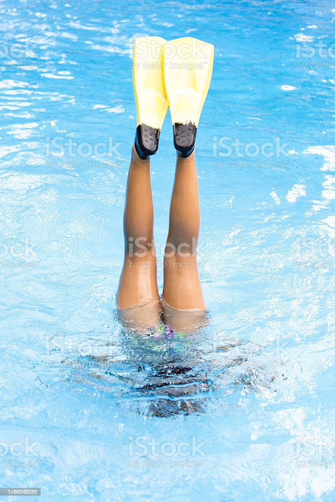 Handstand in pool with yellow flippers stock photo
