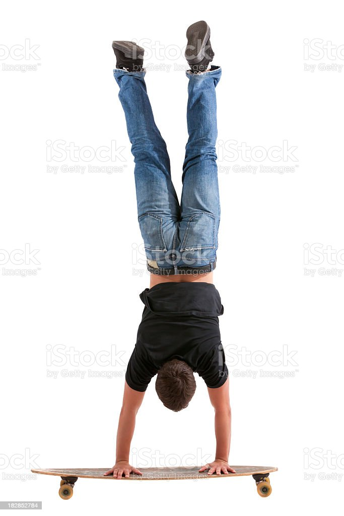 Handstand on Longboard royalty-free stock photo