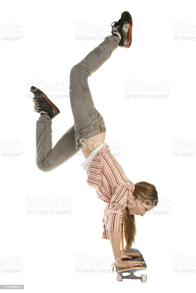 Handstand on skateboard. royalty-free stock photo