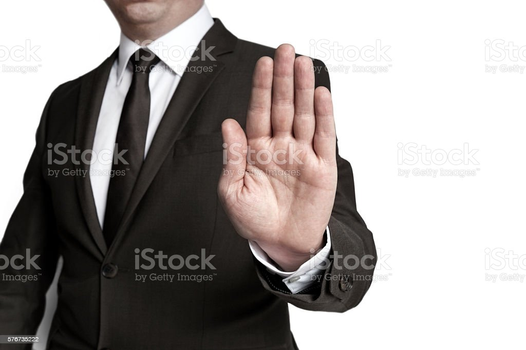 Handstop showed by businessman stock photo