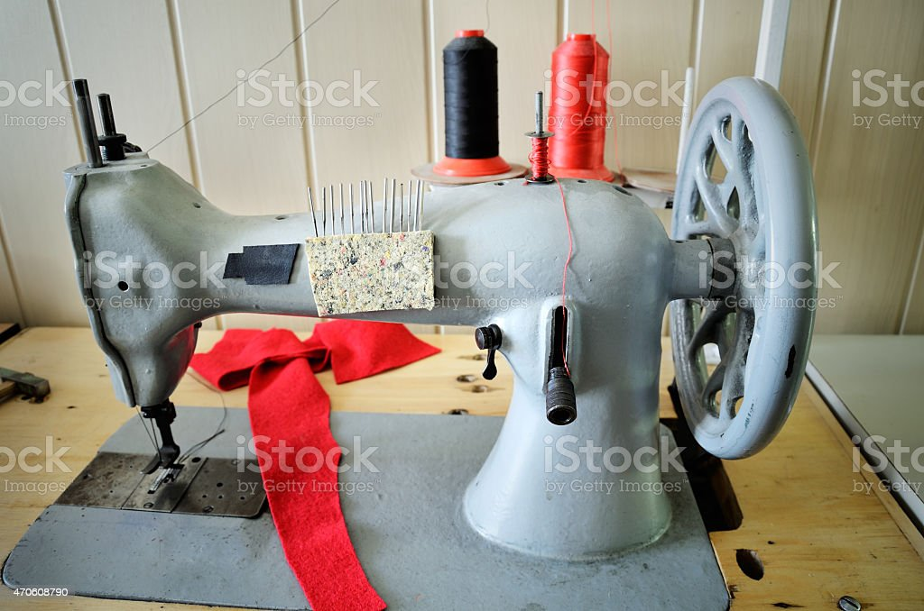 handwheel old sewing machine. horizontal stock photo