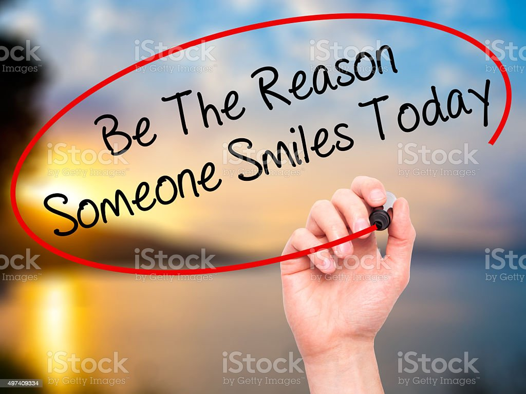 Handwriting Be The Reason Someone Smiles Today stock photo