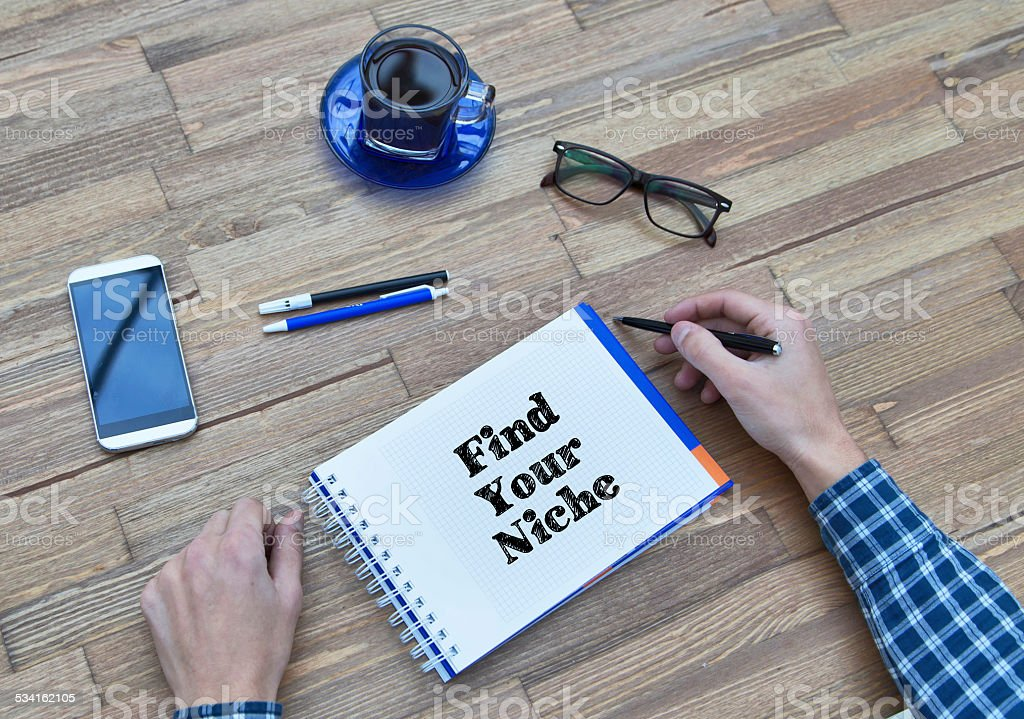 Handwriting of Find Your Niche word in Notebook stock photo