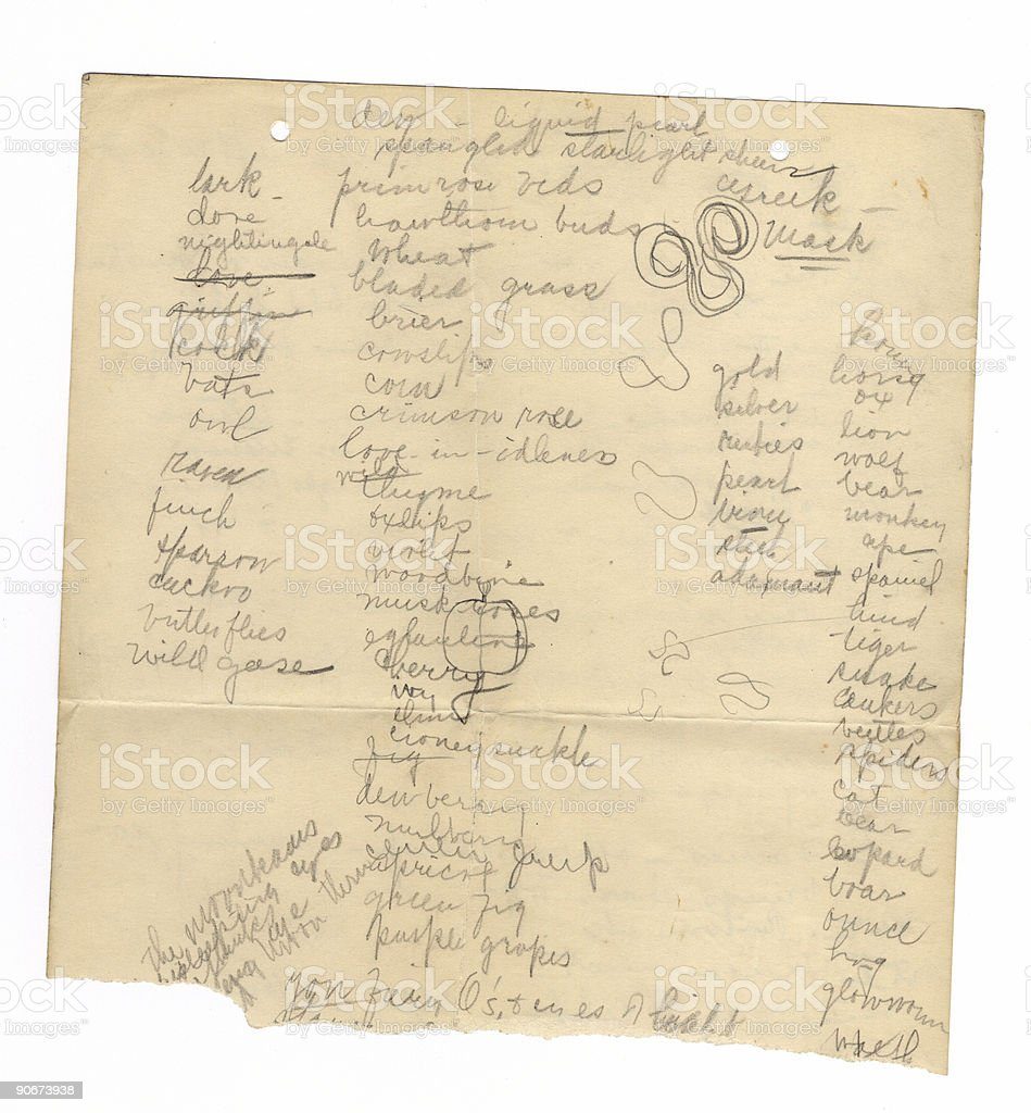 Handwriting on Old Paper I stock photo