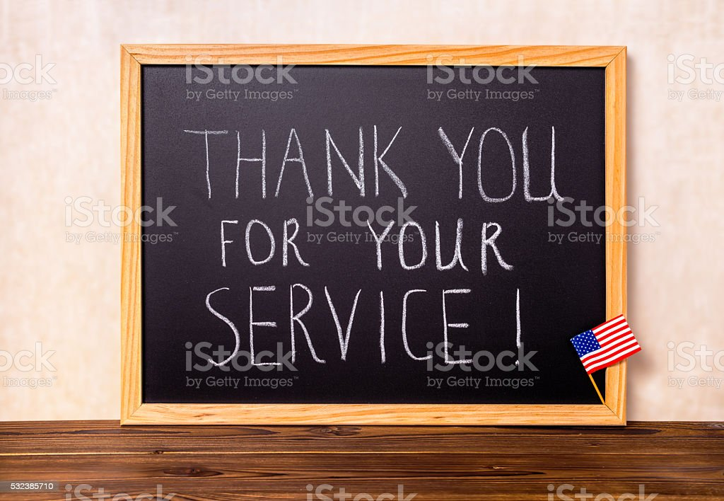 handwriting text thank you for your service with flag stock photo