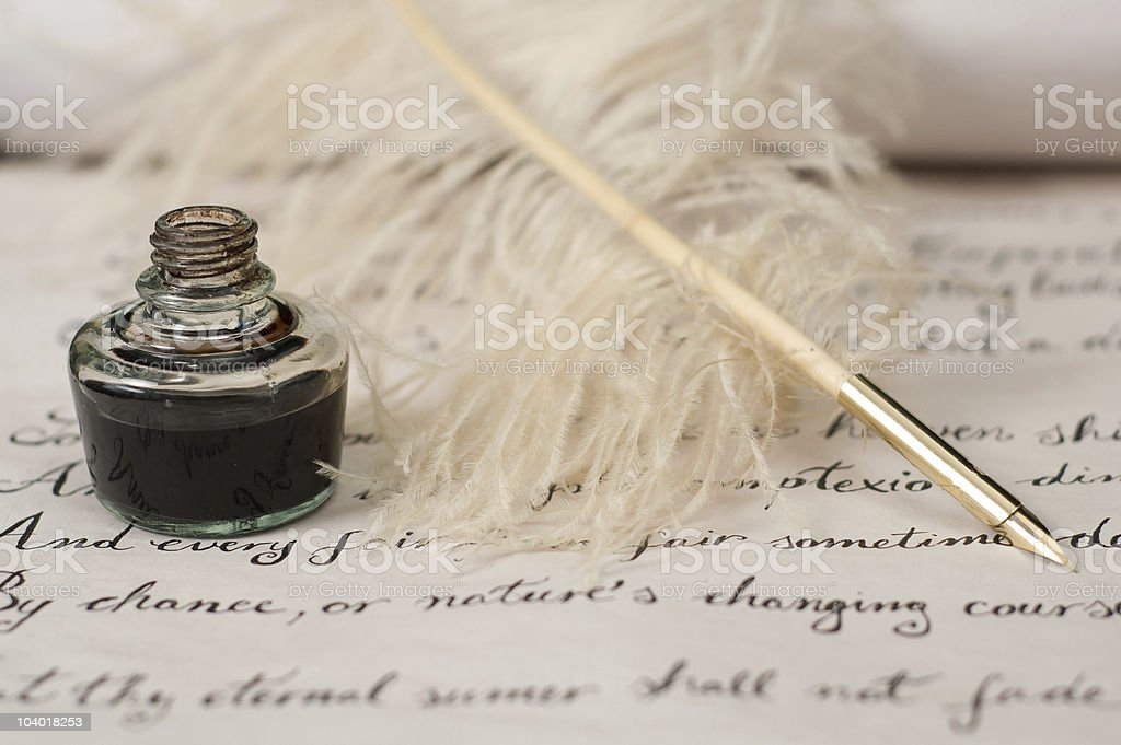 Handwriting,ink and quill pen stock photo