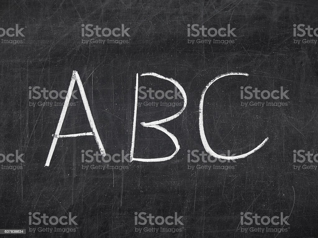 Handwritten ABC blackboard chalkboard stock photo
