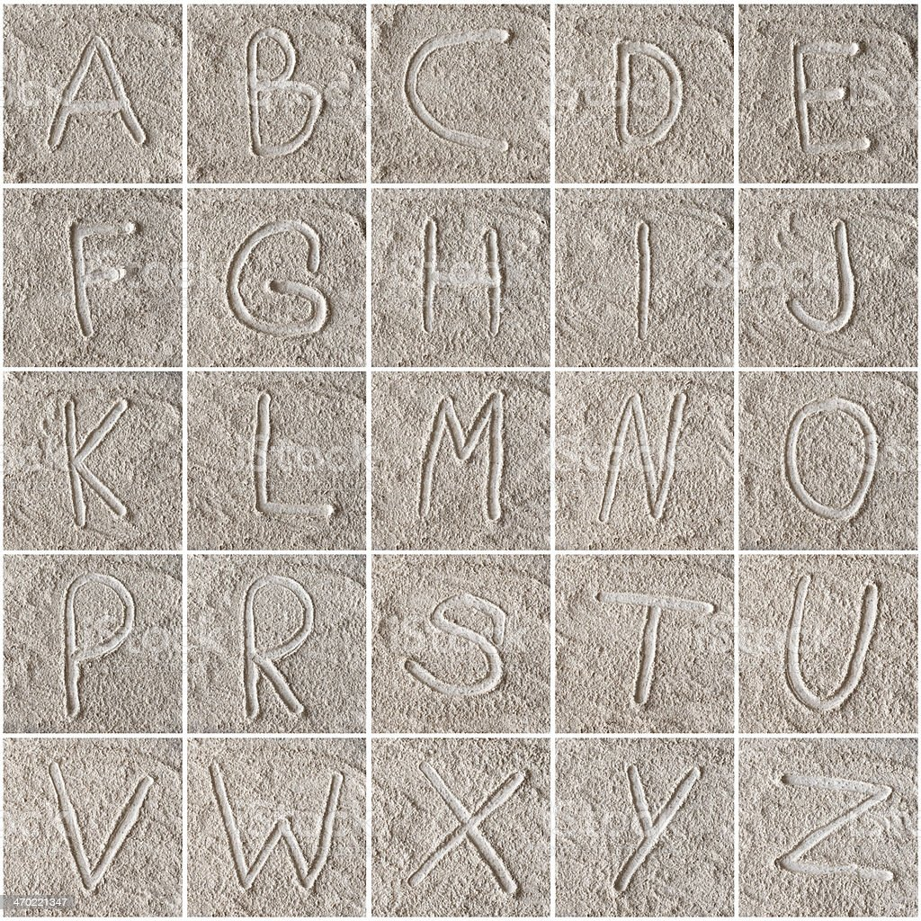 handwritten alphabet letters on floor stock photo