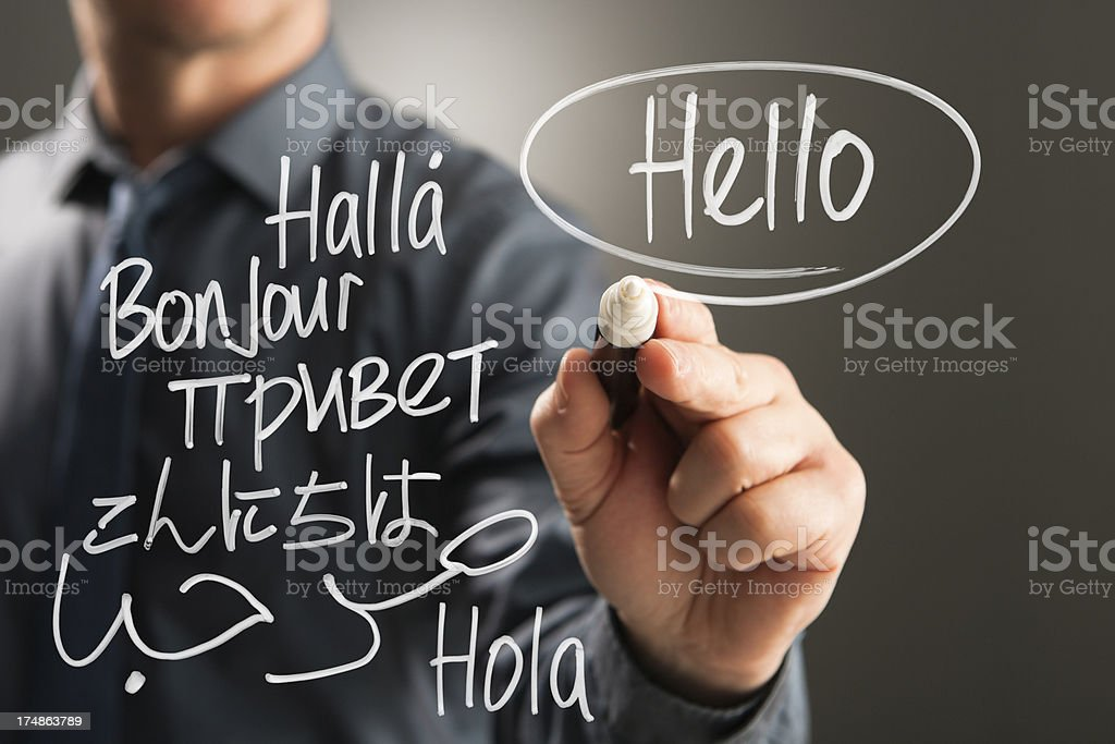 HELLO handwritten in different languages stock photo