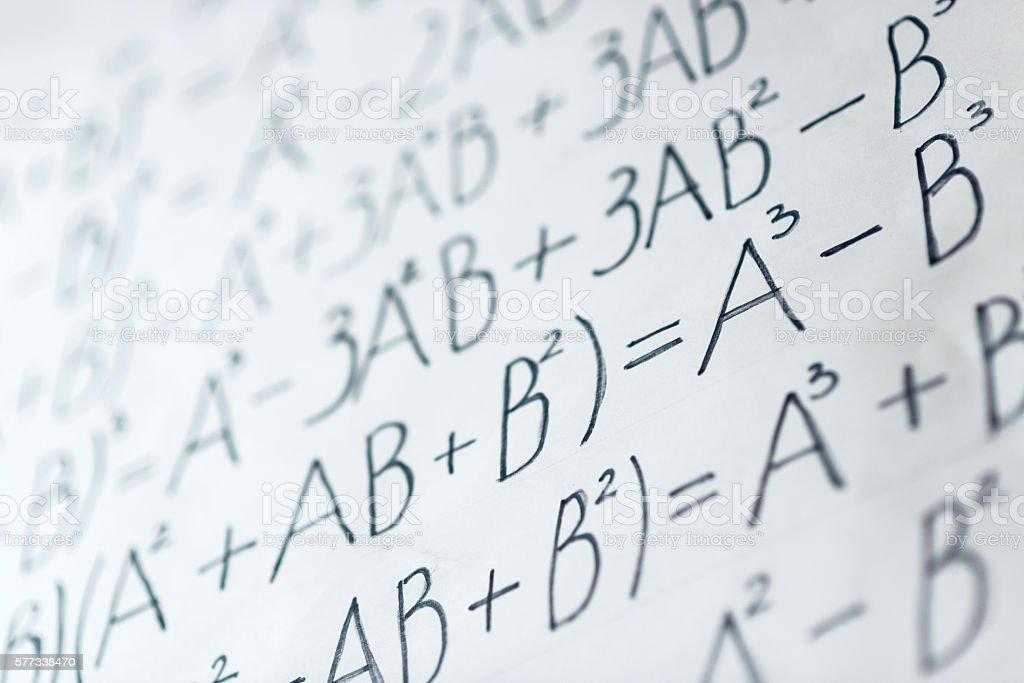 Handwritten Matematical Formulas stock photo