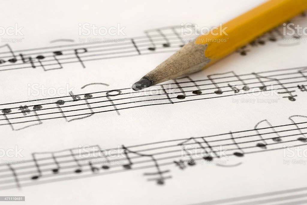 Handwritten Music stock photo