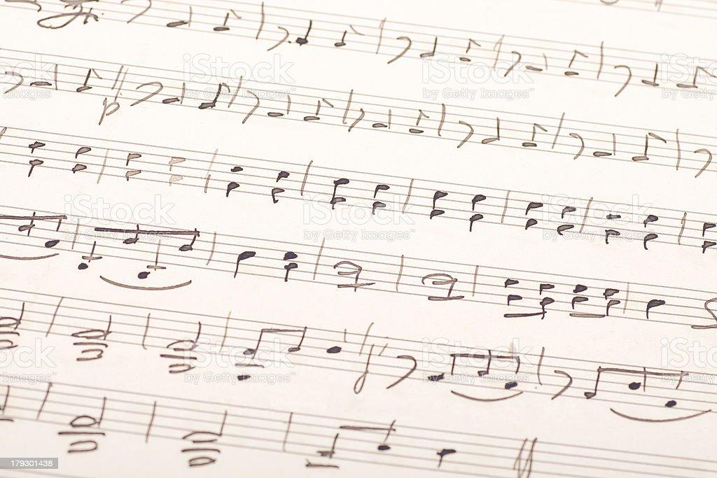 Hand-written music score royalty-free stock photo