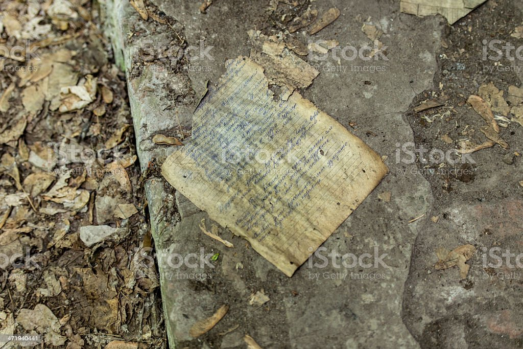 Handwritten (Russian) note in Chernobyl royalty-free stock photo