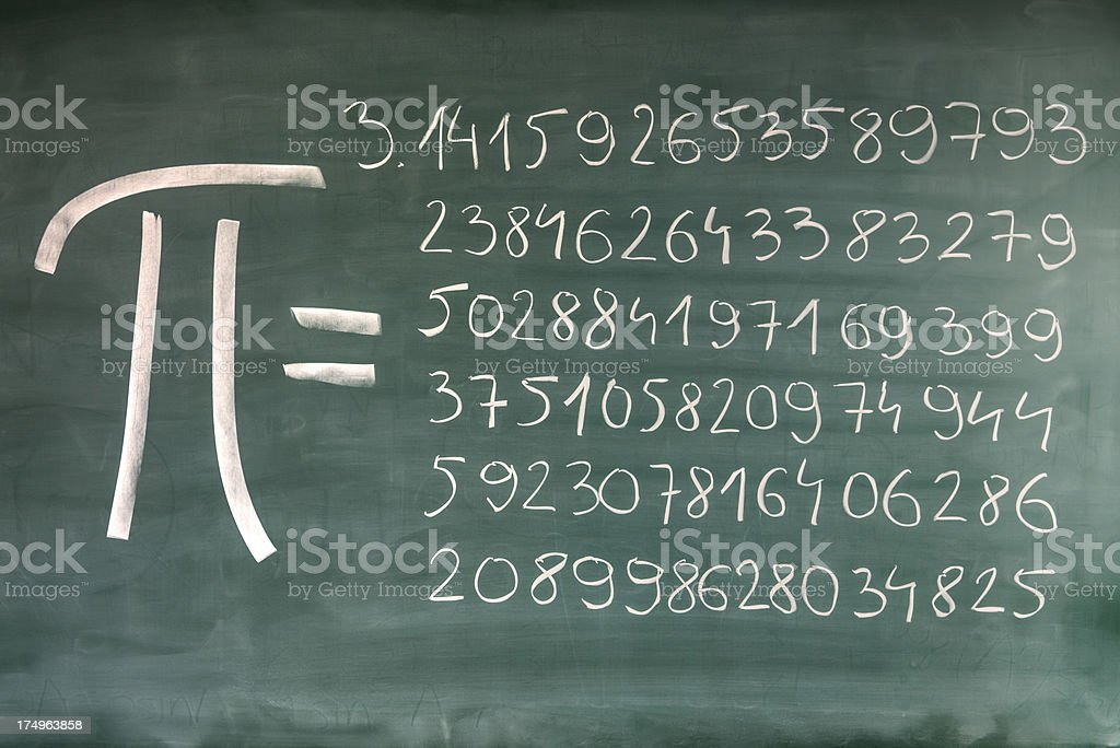 Hand-written Pi numbers on green chalkboard stock photo